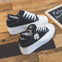 2020 New Thick-Soled White Shoes Daisy Canvas Shoes
