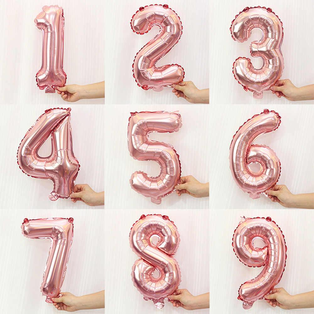 16/32 pouces grand nombre ballons bébé douche hélium feuille Ballon or argent rose bleu chiffre Globos fête d'anniversaire Ballon de mariage