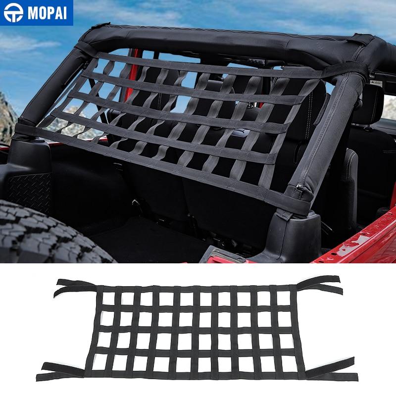 MOPAI Car Cover Black Red Car Top Roof Storage Net Cover for Jeep Wrangler TJ JK JL 1997-2020 Car Accessories