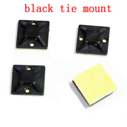 black Tie Mount Plastic Self Adhesive Cable Mounter Base Holder White glue cable positioning fixed seat 20mm*20mm 50-100pcs