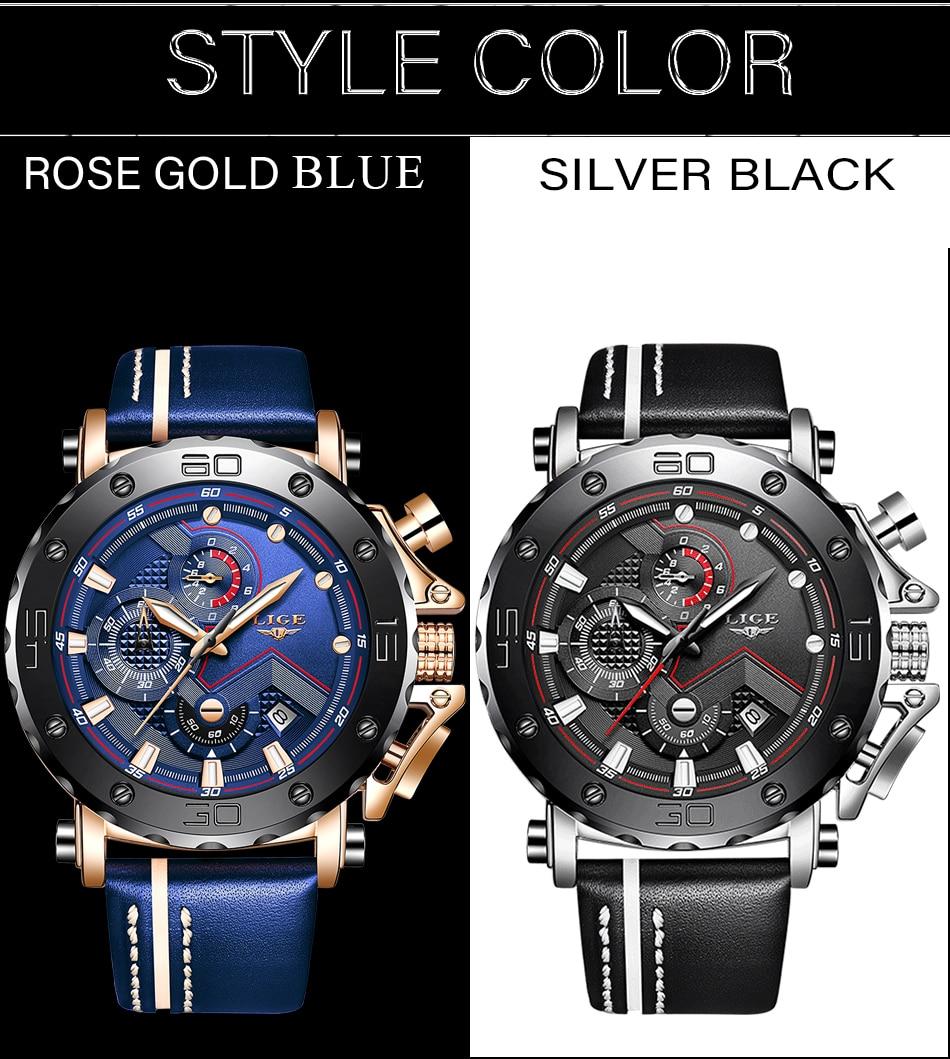 H6000b46bd1da4eceab87469391999140r Relogio Masculino New LIGE Sport Chronograph Mens Watches Top Brand Casual Leather Waterproof Date Quartz Watch Man Clock