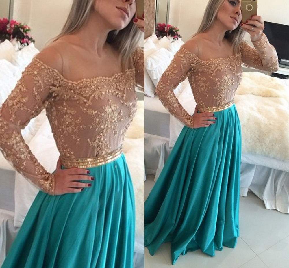 Customized Long Sleeve See Through Sleeves A Line Appliques Beaded Floor Length Prom Gown Blue 2018 Mother Of The Bride Dresses