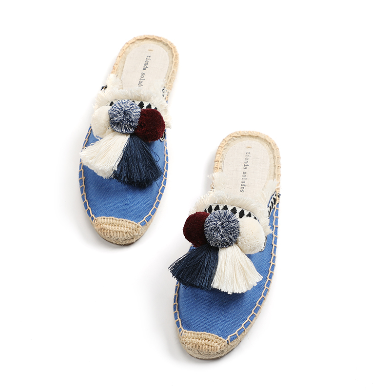 Furry Slippers Women Rubber Hemp Colors Tienda Soludos Spring Summer Tassel Fluffy Ball Canvas Mule Shoes Espadrilles Slides 3