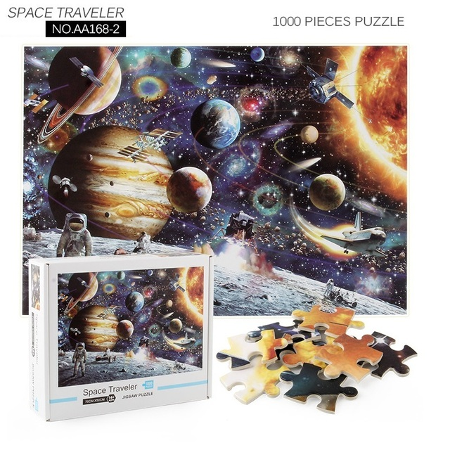 Jigsaw Puzzles 1000 Pieces Wooden Assembling Picture Space Earth World Landscape Puzzles Toys For Adults Children kids Home Game 3