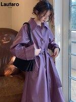 Lautaro Herbst Lange Lila Wasserdicht Faux Leder Mantel Frauen drehen-unten Kragen Schärpen Raglan Hülse Lose Beiläufige Koreanische Mode
