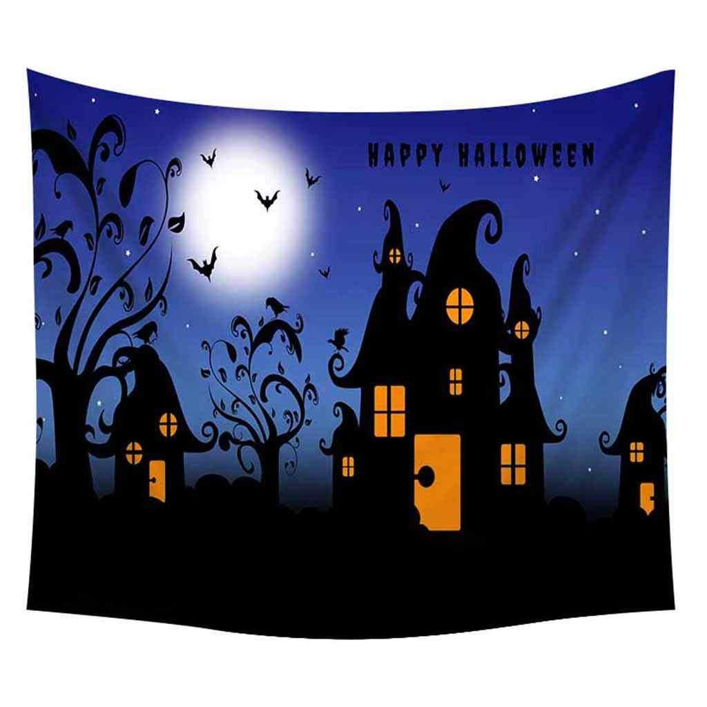 Halloween Party Wand Decor Kürbis Muster Nacht Fällt Mond Tapisserie