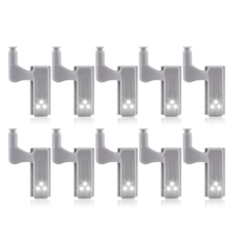 10Pcs Cabinet Cupboard Wardrobe LED Hinge Light Smart Sensor Lamp Cold white|Under Cabinet Lights| |  - title=