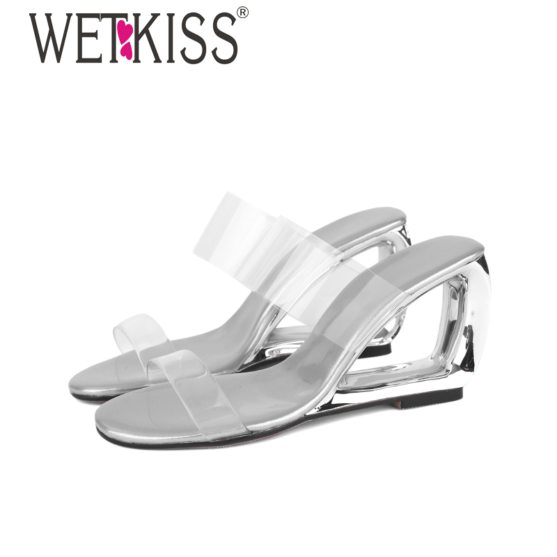 WETKISS Clear Pvc Transparent Slippers Women Strange Style Sandals Shoes Woman Wedges High Heels Party Shoes Female Summer Shoes