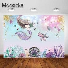 Mocsicka Meerjungfrau Partei Hintergrund Unter Die Meer Meerjungfrau Baby Dusche Geburtstag Party Fotografie Hintergrund Dekorationen Banner