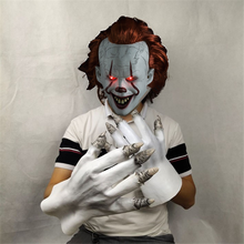 Latex 2019 Movie Stephen King It Chapter Two 2 Pennywise Mask with Golves Cosplay Horror LED Joker Masks Halloween Party Prop(China)