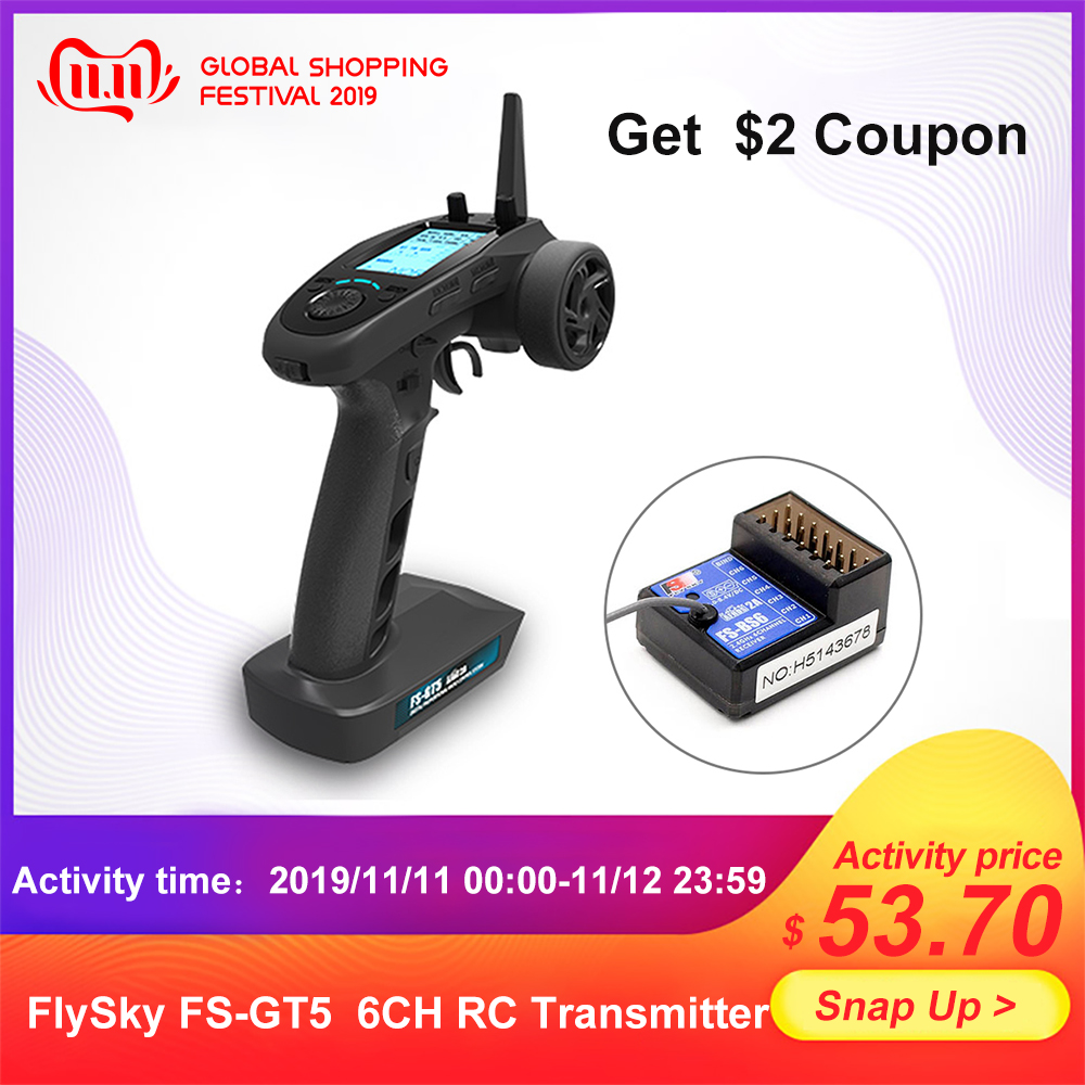 FlySky FS-GT5 2.4G 6CH AFHDS RC Transmitter W/ FS-BS6 RC Remote Control Receiver For RC Car Boat Transmitter