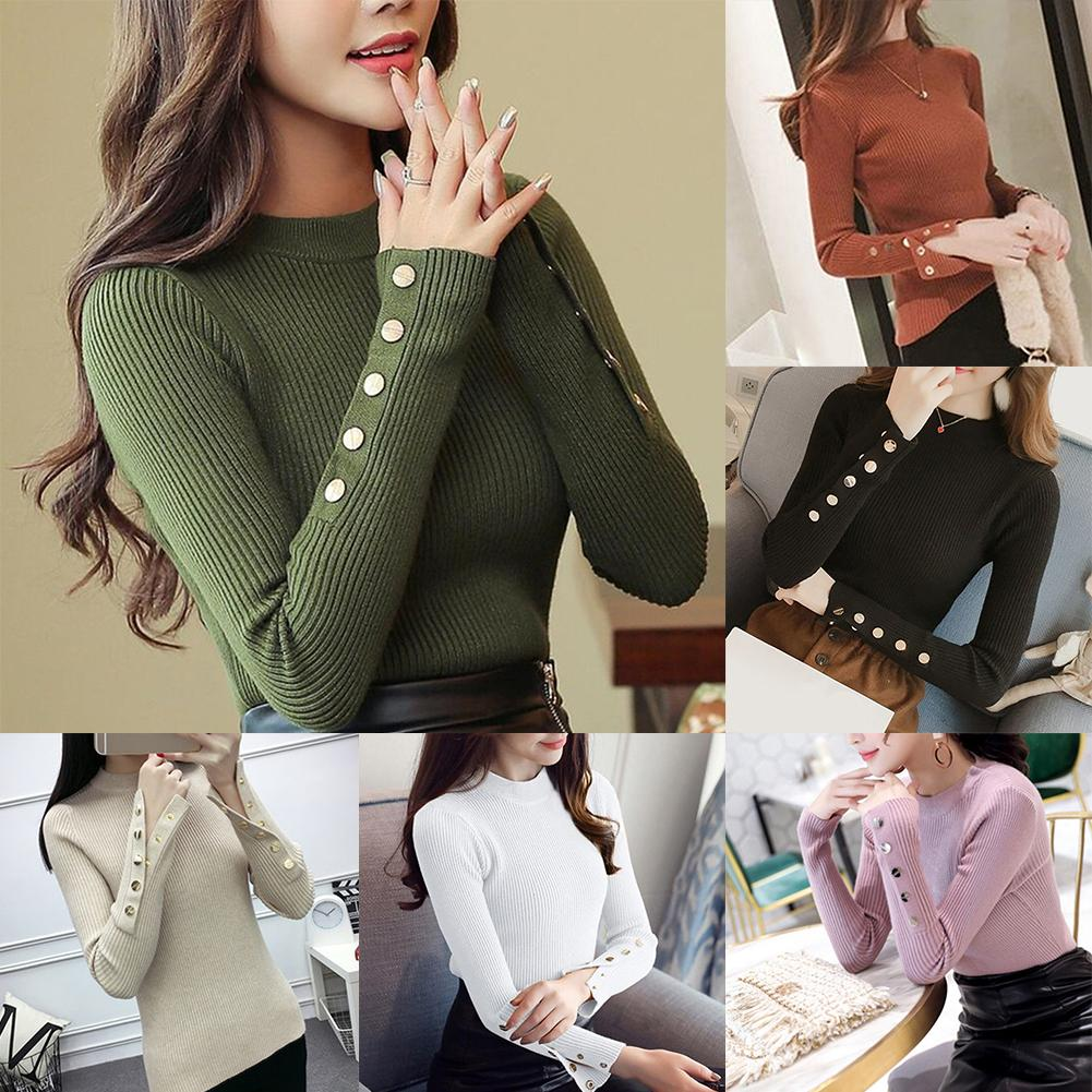 2019 Black Friday Autumn Knitted Sweater Women Long Sleeve O-Neck Pullovers Female Slim Top Vintage Office Button Sweaters