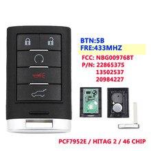 XNRKEY 5 przycisk 433Mhz inteligentna karta inteligentny klucz zdalny do cadillaca SRX,XTS,ATS 2010 2011 2012 2015 NBG009768T