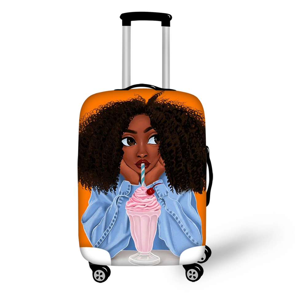 HaoYun Cartoon Luggage Cover African Girls Pattern Travel Accessories Afro Arts Design Water-proof Suitcase Cover Only Cover
