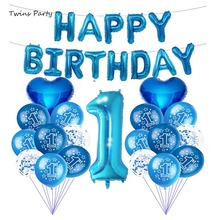 цена Twins 1st Birthday Balloons One 1 Year Old First Happy Birthday Party Decoration Blue Pink Baby Shower Boy Girl Latex Balloons в интернет-магазинах