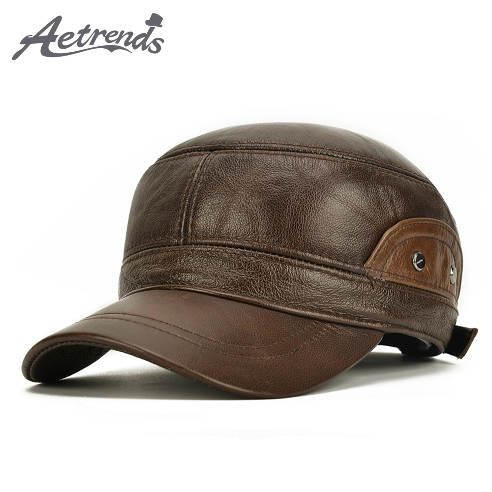 [AETRENDS] 100% Leather Army Military Hats For Men Winter Warm Flat Dad Hat With Ear Flaps Trucker Cap Z-10102