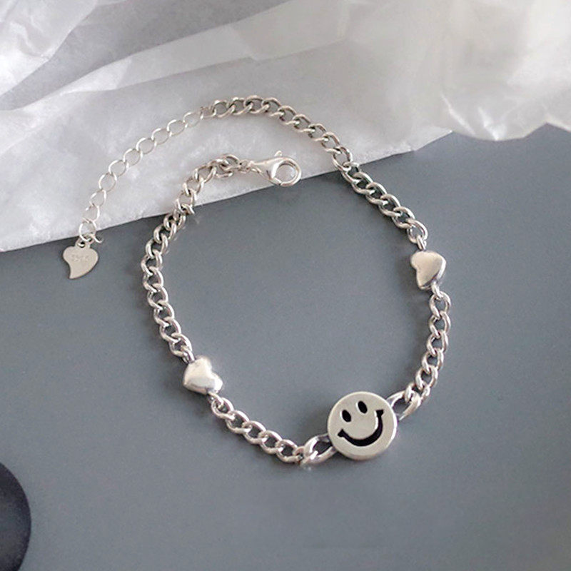 YIZIZAI Vintage Thai Silver Color Smiley Face Heart Chain Bracelet Adjustable For Women Girls Birthday Gift