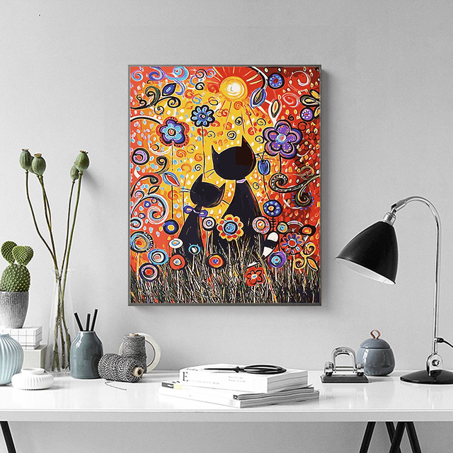 Painting By Numbers Bright Colourful Abstract Black Cat Flowers