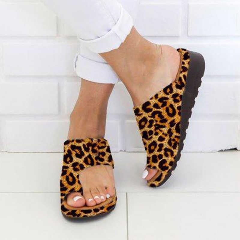 Женские шлепанцы; Женские леопардовые сандалии для коррекции; Ортопедические женские Вьетнамки; Женская обувь размера плюс; 2020