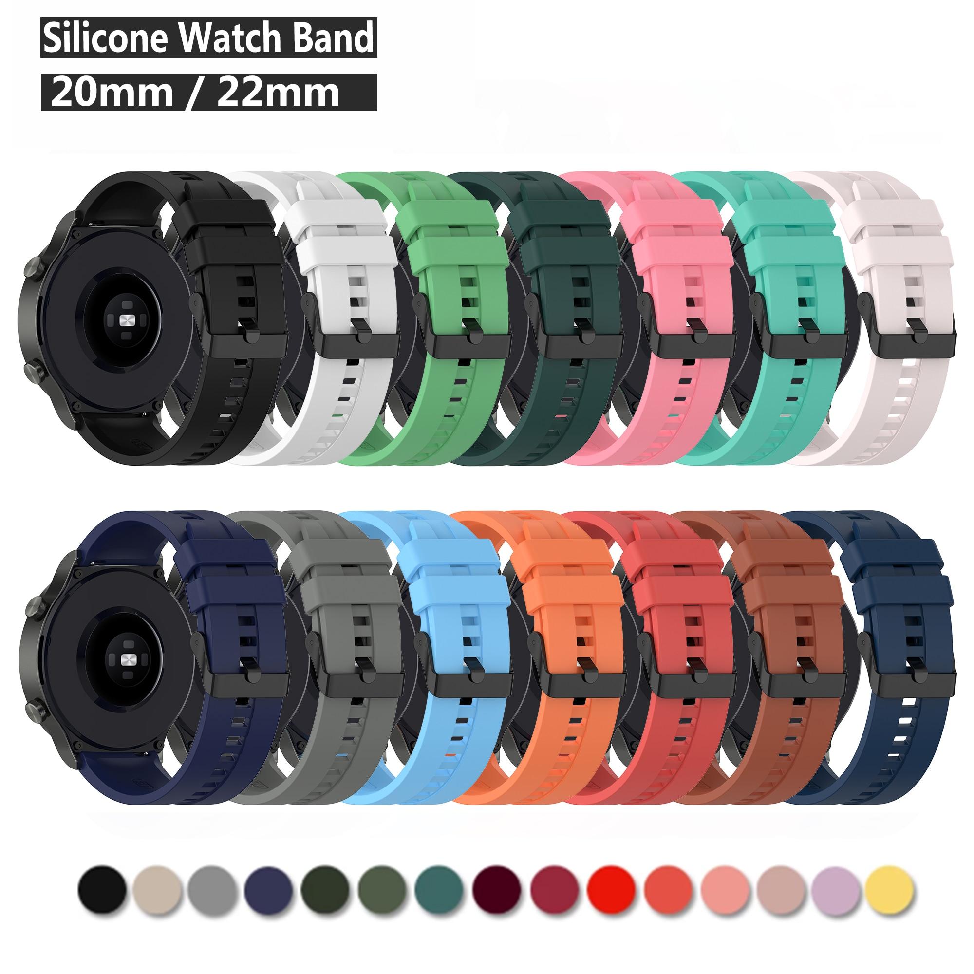 Новый силиконовый ремешок 20 мм 22 мм для часов Samsung Huawei, быстросъемный прочный ремешок для часов, браслет для Huami Amazfit bip