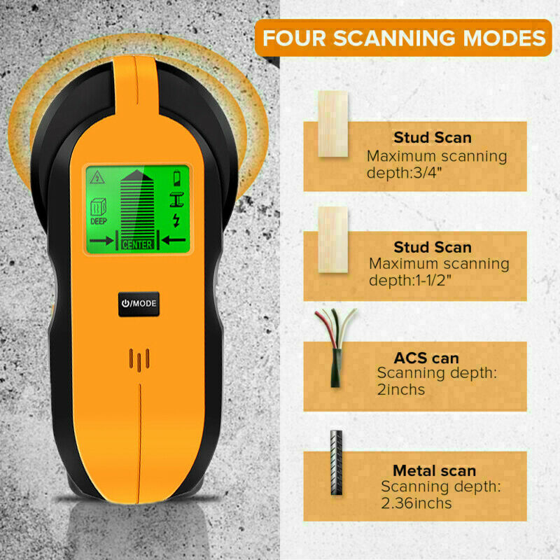 Wall Scanner Stud Finder 4-in-1 Detector With Sound Warning And LED Indication