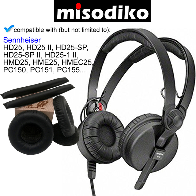 Misodiko 교체 용 헤드 밴드 및 이어 패드 쿠션 키트 sennheiser hd25 ii sp HD25 1 ii, hme25, pc150, pc155 헤드폰 용