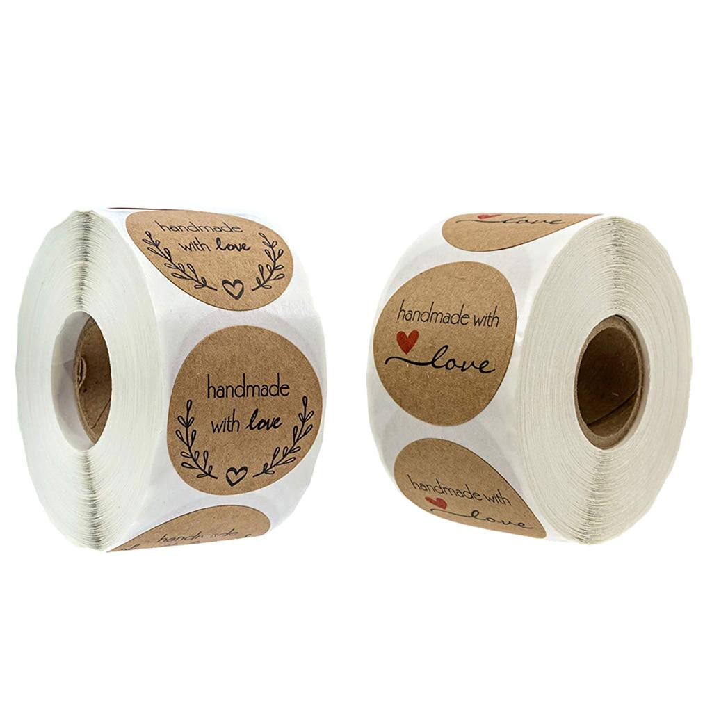 500 шт., ручная работа, с наклейкой для влюбленных, 1 '', круглая, подарочная упаковка, рулон, крафт-бумага, сильный клей, стикер s