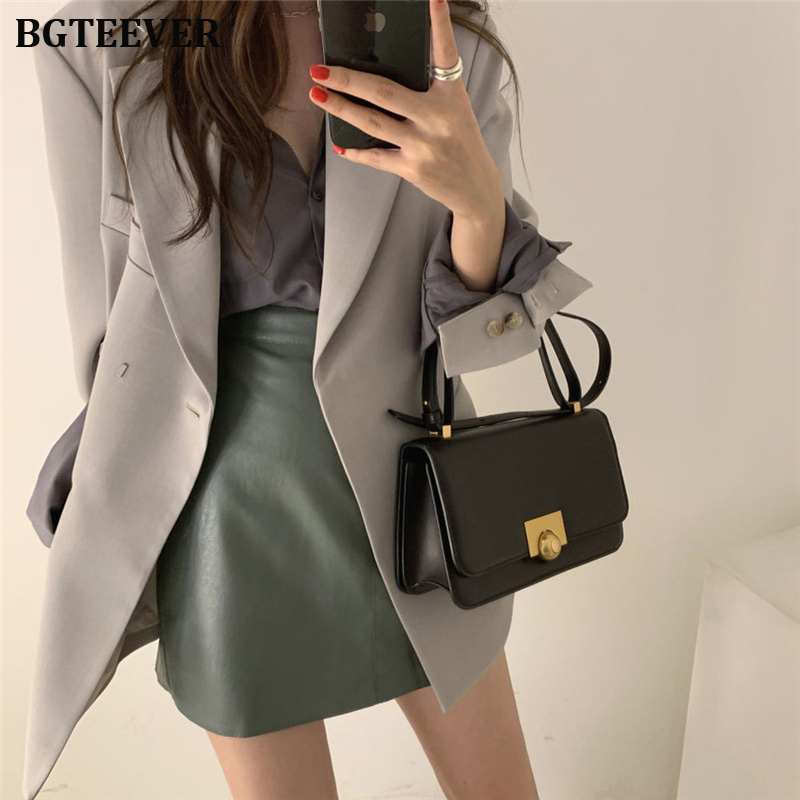 Office Ladies Blazer Jacket Notched Collar Loose Women Blazer Fashion One Button Female Suit Jacket 2019 Autumn Winter Outwear