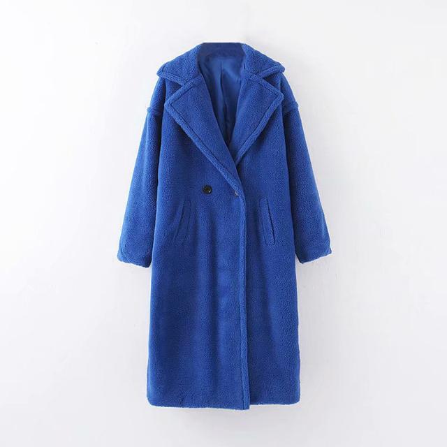 Winter Casual Solid Teddy Coat Women Long Sleeve Fleece Long Jacket Lady Turn Down Collar Lamb Fur Coat Outerwear Fourrure Femme