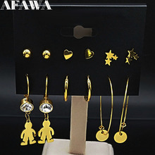 6 Pair 2019 Fashion Cut Boy Stainless Steel Earring Set for Women Gold Color Earings set  Jewelry de aros oreja E612876