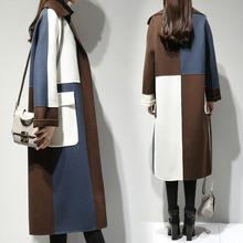 Winter Coats 2019 Long Wool Coat Loose Coat Female Tops Autumn Jackets For Woman Patchwork Jacket Causal Outwear Cardigan пальто