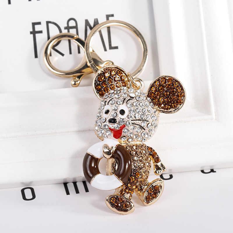 2019 ใหม่น่ารัก Rhinestone คริสตัล Hollow Out หัวใจจี้ Key Ring สำหรับผู้หญิงพวงกุญแจของขวัญ
