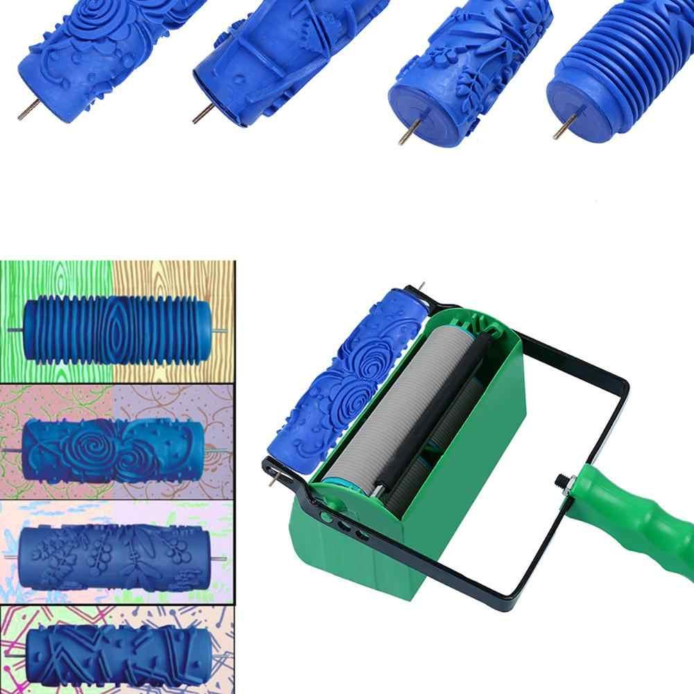 """1PCS 5 """"3D Modello Decor Rullo Modellato In Rilievo Vernice Rullo di Gomma Del Manicotto Struttura Della Parete Stencil Pennello Decorazione Carta Da Parati"""
