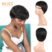 BLISS Short Pixie Cut Human Hair Wig Bob Brazilian Body Wave Wigs For Black Women Cheap Short Lady Human Волосы