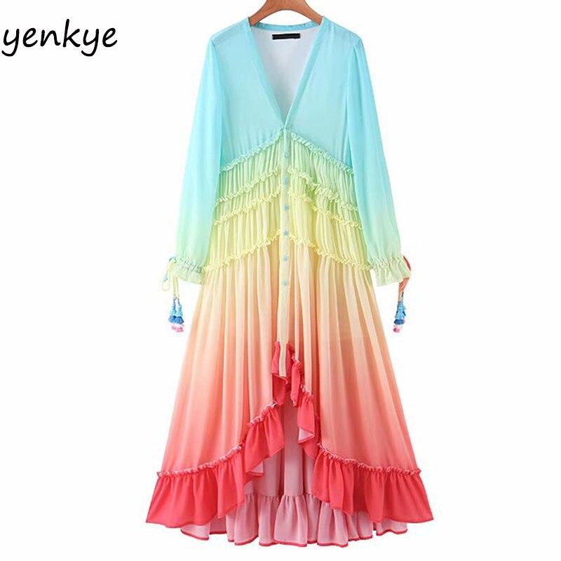 Женское богемное длинное платье с градиентом, многоцветное романтическое пляжное платье с кисточками и отворотами, треугольный вырез, лето...