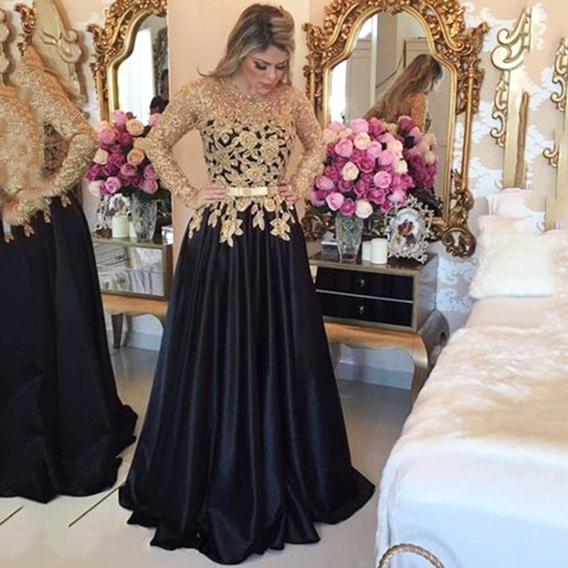 2019 New Stylish Long Sleeves   Prom     Dresses   Gold Applique Black Evening Gown With Belt Satin Formal   Prom     Dress