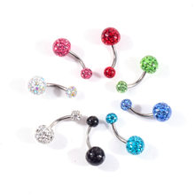 Women Fashion Stainless steel soft ceramic ball Dangle Belly Button Ring Navel Barbell Piercing Nightclub Dance Body Jewelry(China)