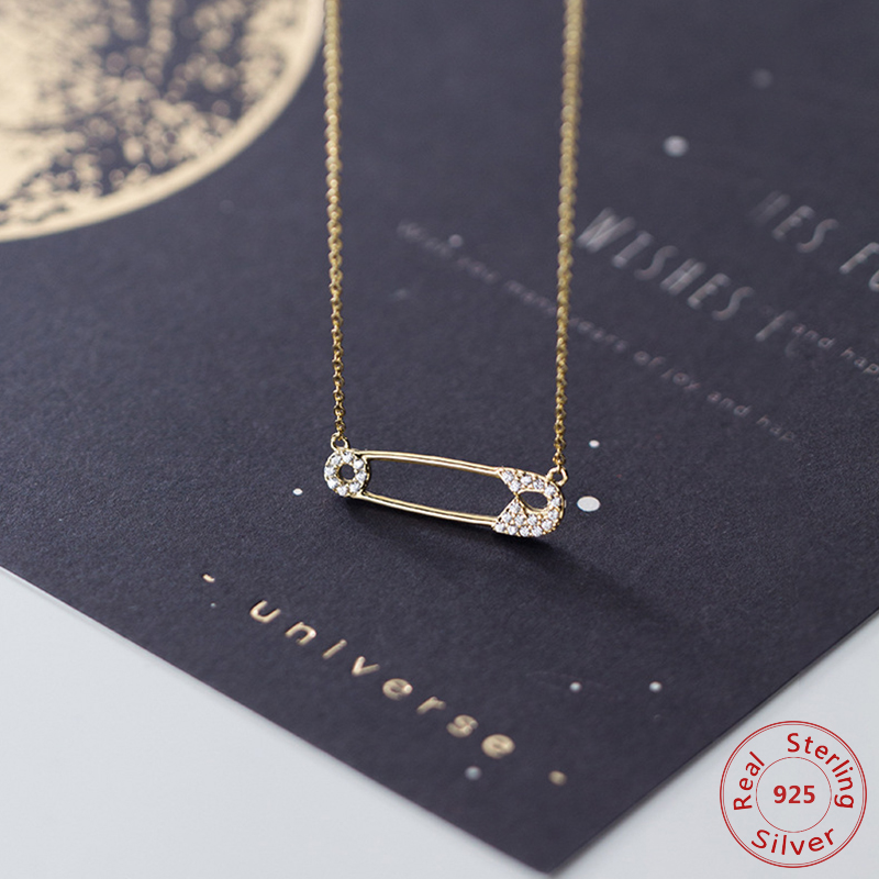 Real 925 Sterling Silver Safety Pin Pendant Rhinestone Crystal Necklace for Women Link Chain Charms Jewelry