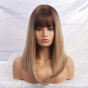 Image 5 - Długie peruki syntetyczne proste z Bangs Ombre ciemnobrązowe do szarych peruk dla kobiet Cosplay peruka z naturalnych włosów włókno termoodporne