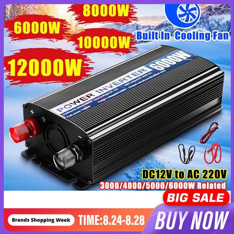 12000W 10000 8000 6000 LED Car Inverter 12V 220V 2 USB Modified Sine Waves Powers Voltage Convertor Transformer 5000 4000 3000