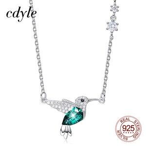 Колье Колибри Cdyle с зеленым кристаллом Swarovski, серебро 925 пробы, с цирконием, для матери, подарки, ювелирные изделия