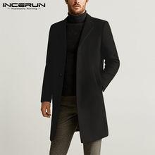 Incerun homens casacos de inverno moda sólida jaquetas causal manga longa outono casacos masculinos lazer lapela estilo longo casacos mais tamanho