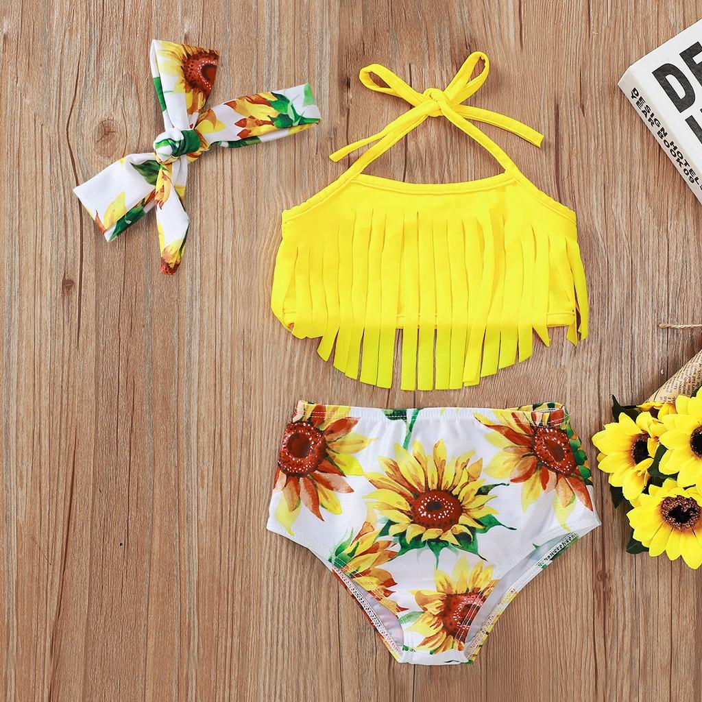 Toddler Girls Floral Tassel Tops+Sunflower Swimsuit Bikini Shorts Outfits Set