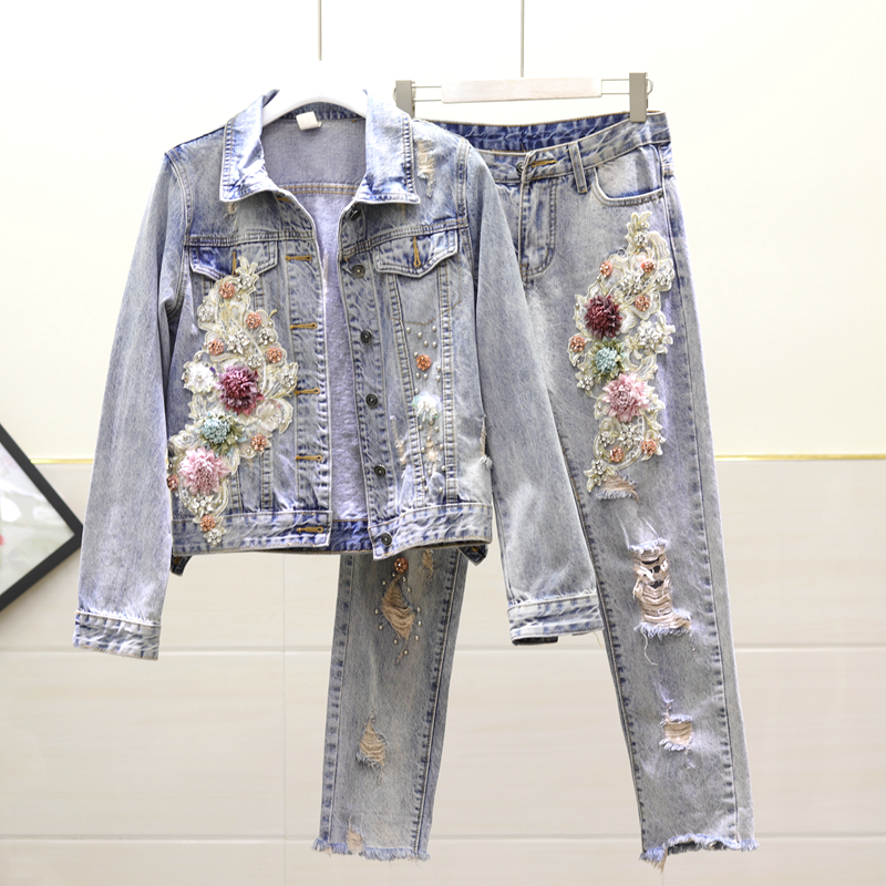 Spring Fall Denim Jacket Women New Beaded Embroidery Flower Denim Jackets & Coats Hole Jeans Women's Outfits Nancylim