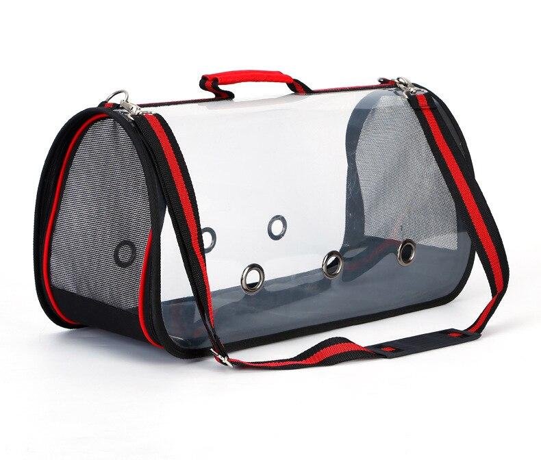 Pet transparente bolsa transporte cão gato papagaio ombro transparente pet saco