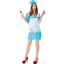 Scary Bloody Nurse Costume Cosplay For Adult Halloween Women Carnival Party Dress Up Suit
