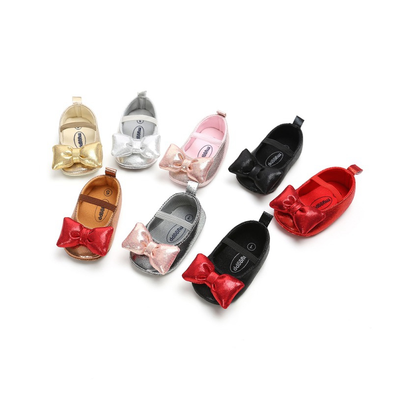 Spring Baby Girls Princess Party Shoes Infant Toddler Crib Bebe Kids First Walkers PU Big Bow Soft Soled Anti-Slip Shoes 0-18M