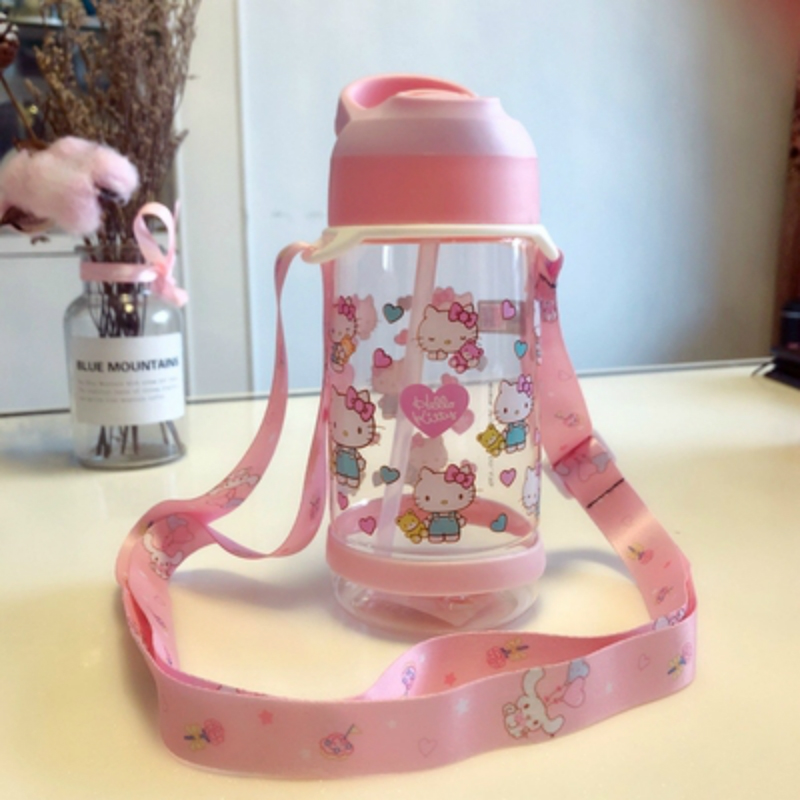 Hello kitty Water bottle with straw Gym Sports Water Bottles 550ML Outdoor Portable Leakproof plastic Kids Straw cup BPA Free image
