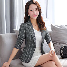 Long Sleeve Stripe Blazer Women Clothes 2020 Spring Causal Single Button Suit Jacket Female OL Plus