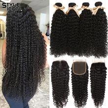 Malaio kinky curly bundles com fechamento encaracolado feixes de cabelo humano com fecho styleicon 3 pacotes encaracolados com fecho